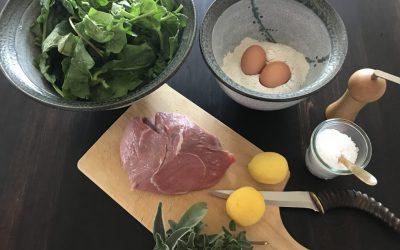 Spinat-Spätzle mit Zitronen-Salbei-Schnitzel
