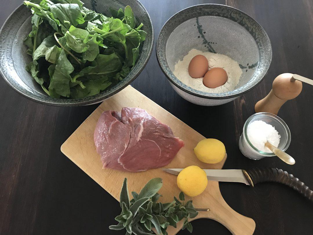 Spinat Spätzle mit Schnitzel